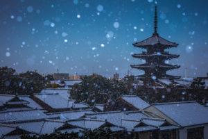 京都府 八坂の塔 雪景色