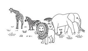 ライオン、象、シマウマ、キリンのイラスト