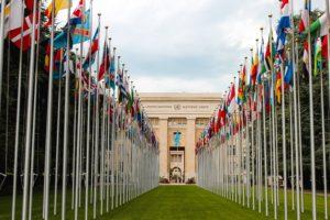 国連の旗が並ぶ風景